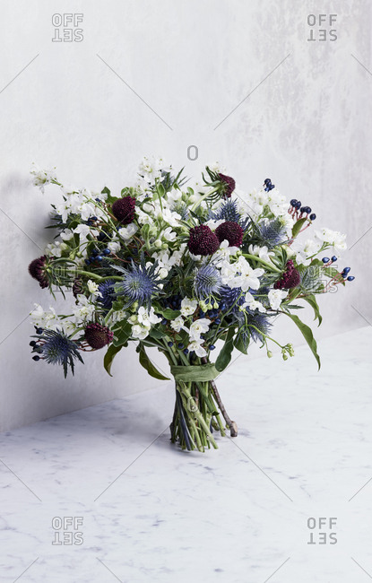 Bouquet of flowers on marble