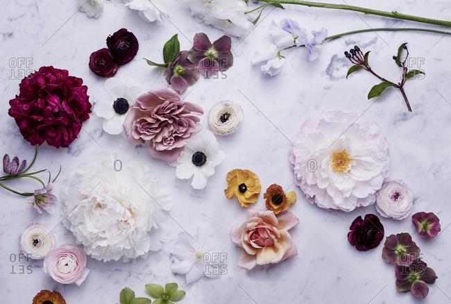 Flower arrangement on marble