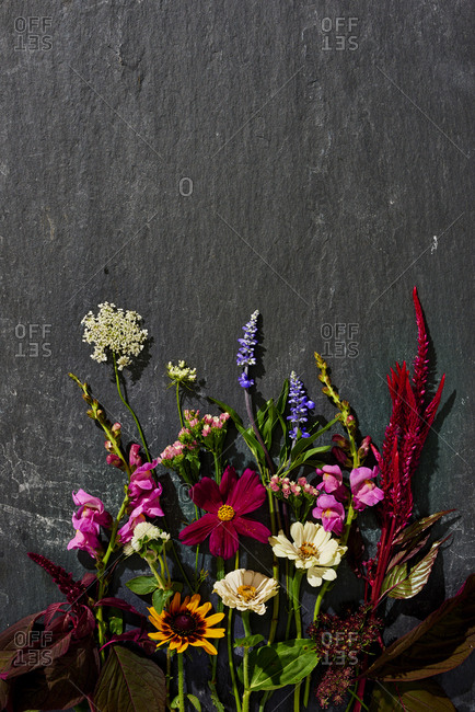 Flower arrangement on slate