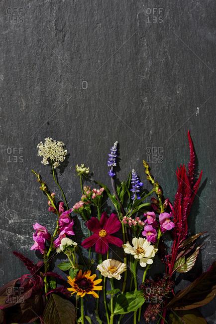 Flower arrangement on slate