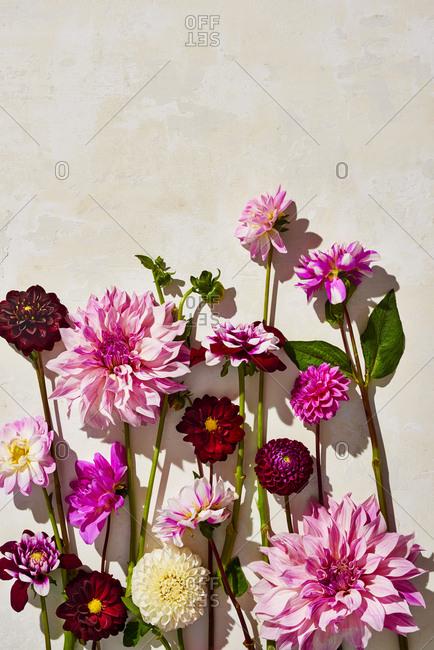 Pink flower arrangement on stone