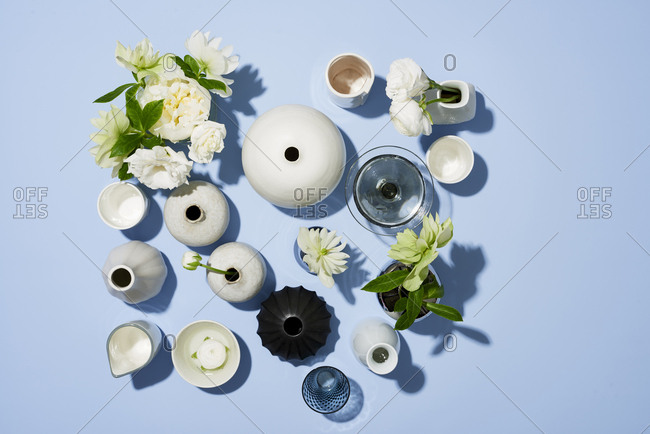 Variety of flowers in vases from above