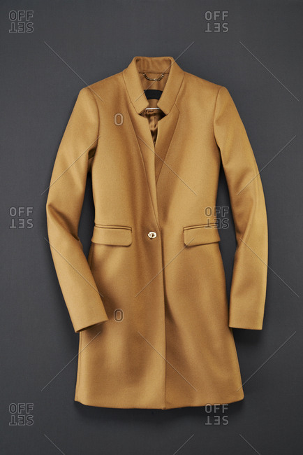 Women's camel coat from above