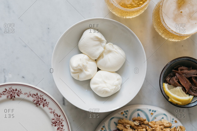 Aperitivo with fresh burrata cheese