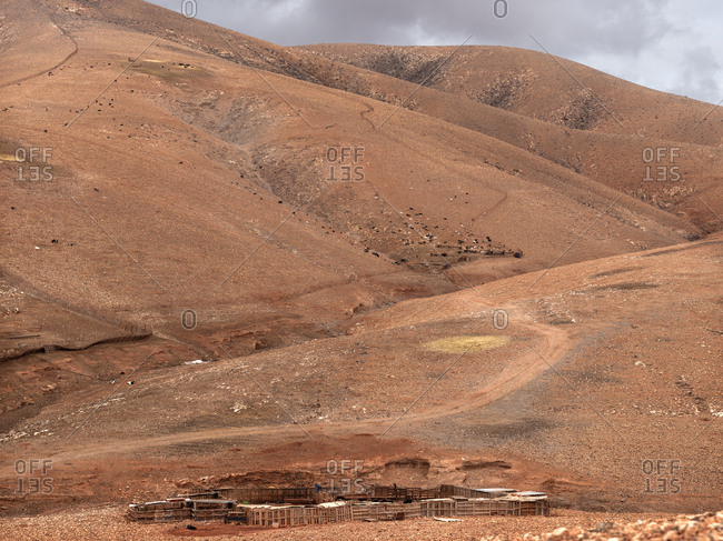 Picturesque view of mountain and deserted valley on Fuerteventura?Island, Spain