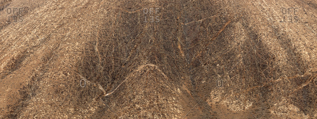 Magnificent drone view of wonderful dry valley on Fuerteventura Island, Spain