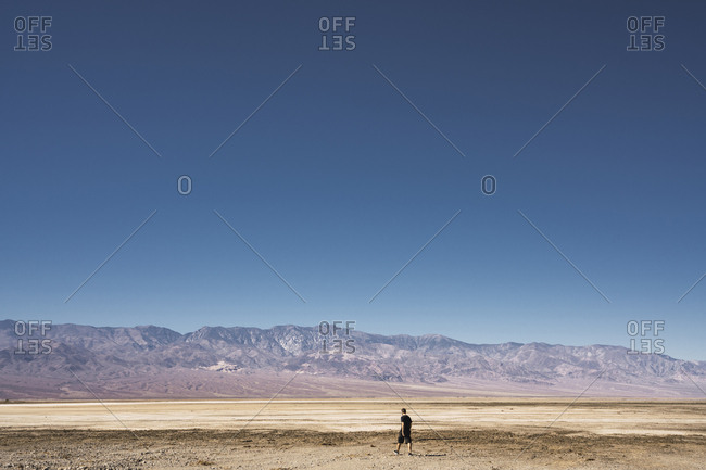 Back view young male walking to mountains between wild field with beautiful blue sky