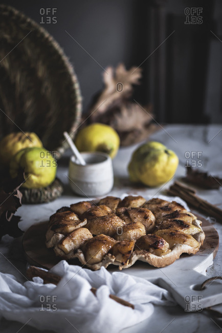 Delicious pie lying on marble table
