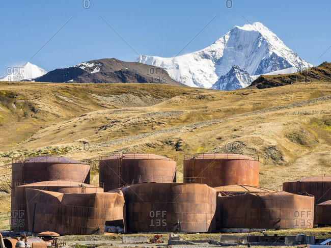 Tanks for fuel for the ships and for the factory. Grytviken Whaling Station in South Georgia. Grytviken is open to visitors, but most walls and roofs of the factory have been demolished