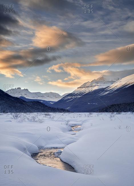Canada, Alberta, Banff National Park, sunset at Graveyard Flats