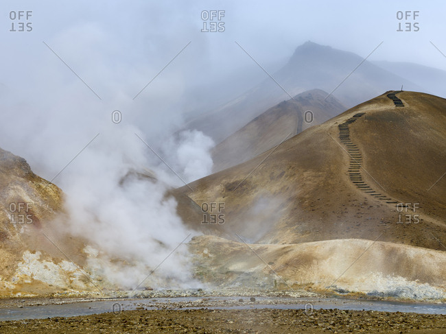 Geothermal area Hveradalir in the mountains of Kerlingarfjoll in the highland of Iceland.