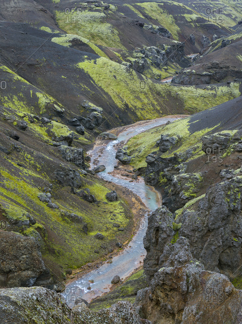Landscape in the mountains of Kerlingafjoll in the highlands of Iceland.