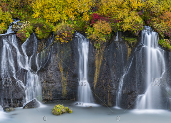 Waterfall Hraunfossar with colorful foliage during fall.