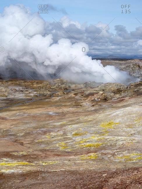 Geothermal area Gunnuhver, Reykjanes peninsula during fall.