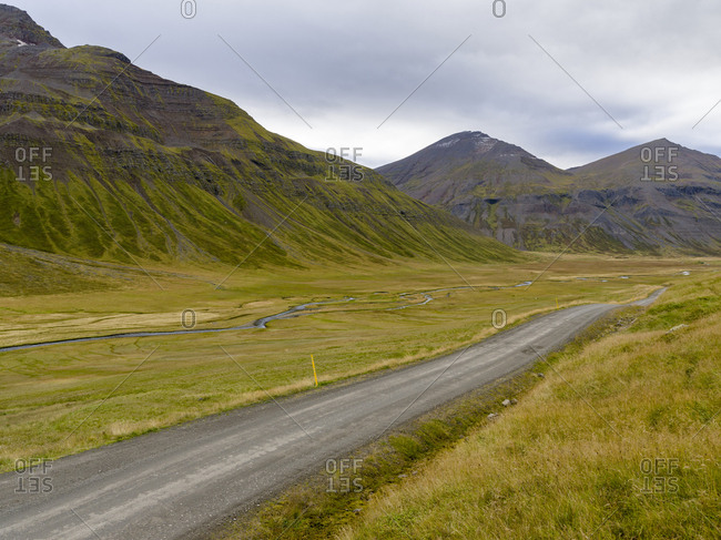 Valley leading up to Lagheidi in Trollaskagi mountains.