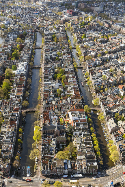 Aerial view of the Old City Center Amsterdam, Netherlands