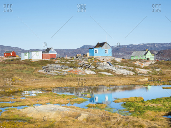 Inuit village Oqaatsut (once called Rodebay) located in the Disko Bay, Greenland, Denmark
