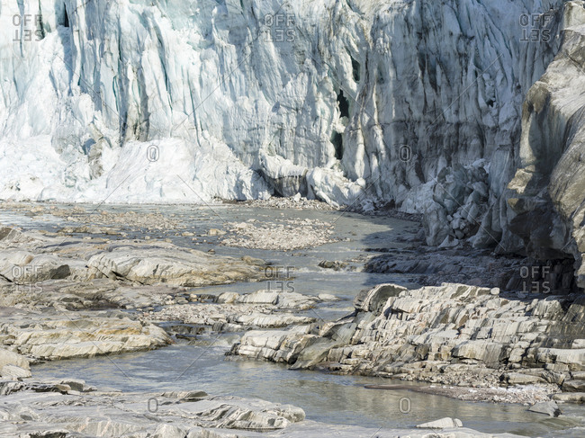 Terminus of the Russell Glacier. Landscape close to the Greenland Ice Sheet near Kangerlussuaq, Greenland, Denmark
