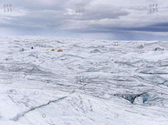 Camp on the ice cap. Landscape on the Greenland Ice Sheet near Kangerlussuaq, Greenland, Denmark