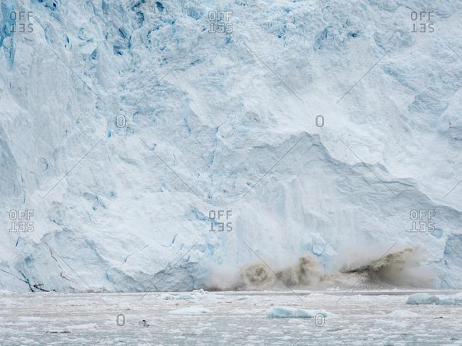 Glacier Eqip (Eqip Sermia) calving in western Greenland, Denmark