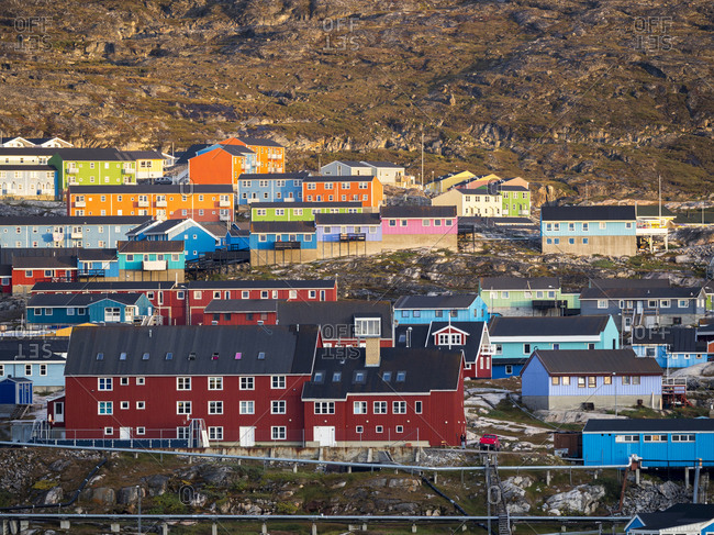 Town Ilulissat at the shore of Disko Bay in West Greenland. The icefjord nearby is listed as UNESCO World Heritage Site.