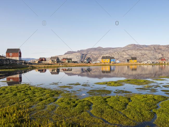 Ikerasak, a small traditional fishing village on Ikerasak Island in the Uummannaq fjord system, northwest Greenland.