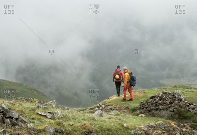 England- Langdale Valley- Gimmer Crag- climbers- couple