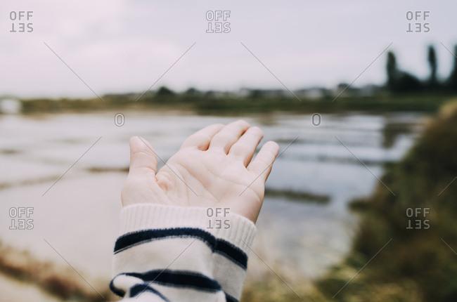 France- Bretagne- Guerande- hand showing to saline