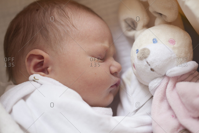 Sleeping baby girl with toy bunny