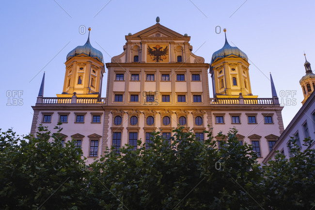 Germany- Bavaria- Augsburg- Townhall- east facade in the evening