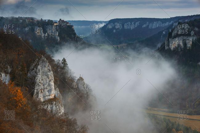 Germany- Baden Wuerttemberg- Upper Danube Nature Park- Werenwag Castle in autumn