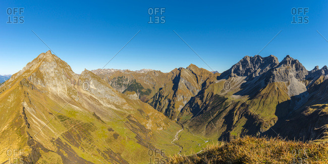 Germany- Bavaria- Allgaeu-  Allgaeu Alps- Hoefats- Nebelhorn- Oy Valley- Raedlergrat at Himmelhorn- Schneck- Himmeleck- Grosser Wilder and Kleiner Wilder