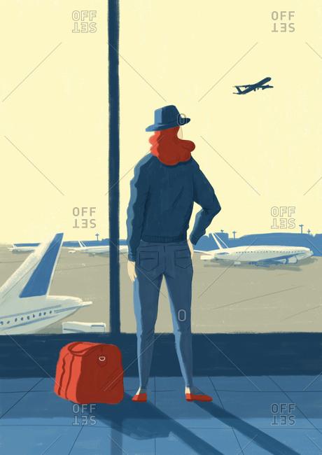Illustration of woman watching airplane takeoff