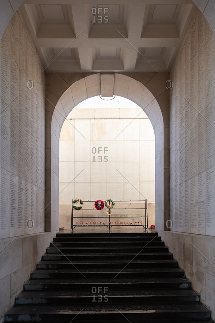Ypres, Belgium - February 12, 2018: Menin Gate memorial wall and steps