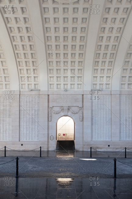 Ypres, Belgium - February 12, 2018: Menin Gate Memorial to the Missing