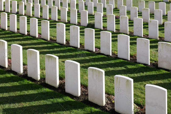 Zonnebeke, Belgium - February 12, 2018: Graves at Tyne Cot Cemetery, the largest British military cemetery in the world
