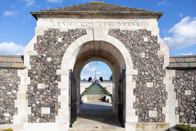 Zonnebeke, Belgium - February 12, 2018: Tyne Cot Cemetery entrance