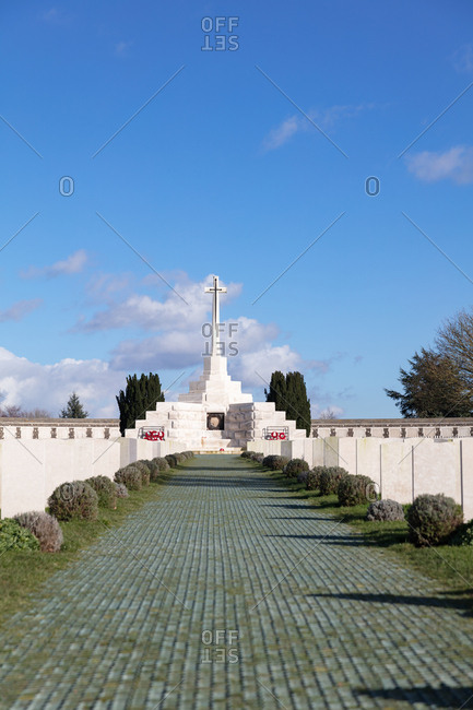 Zonnebeke, Belgium - February 12, 2018: British cemetery by Ypres in Belgium