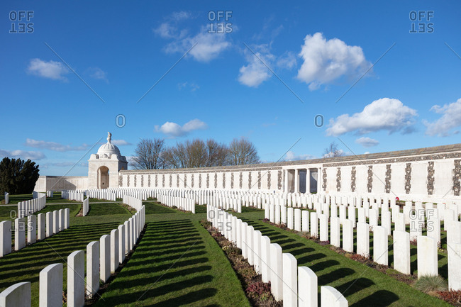 Zonnebeke, Belgium - February 12, 2018: Memorial wall and graves at Tyne Cot Cemetery