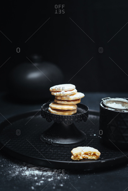 Homemade cookies on black background