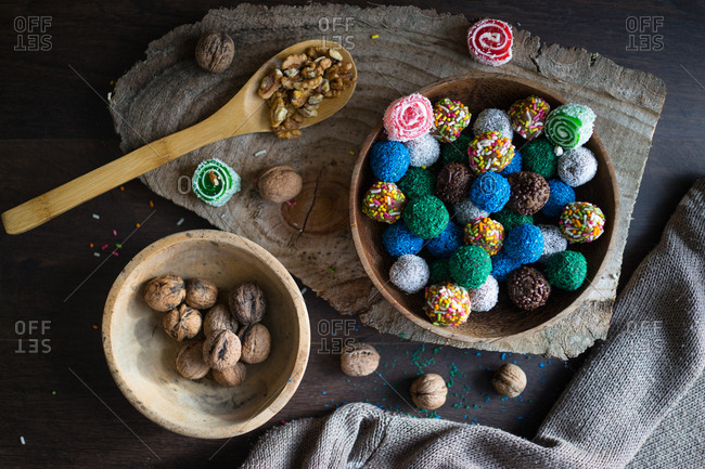 Colorful cookie balls