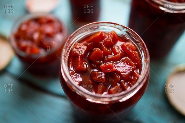 Close up of quince jam