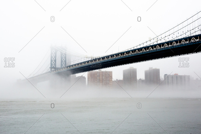Foggy morning view of the Manhattan bridge in New York City