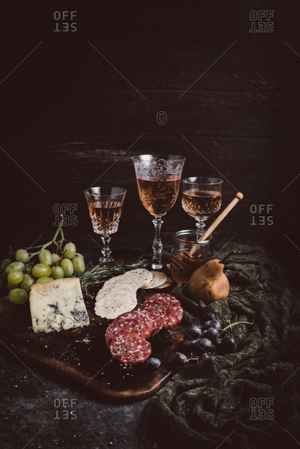 Cheeseboard and wine