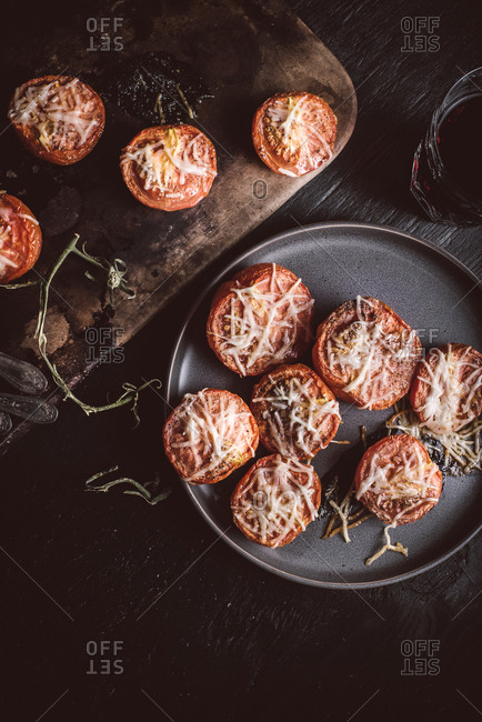 Cheesy roasted tomatoes