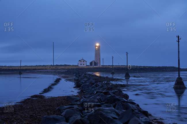 Lighthouse at dawn in Iceland