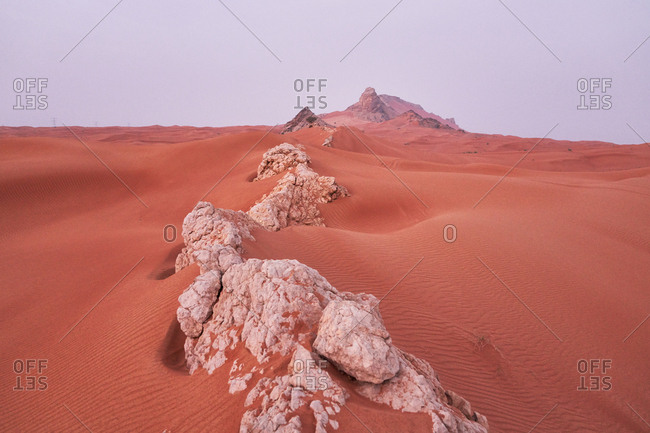 Rock formations in a desert in Dubai, United Arab Emirates