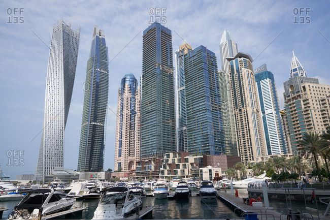 Dubai, United Arab Emirates - November 26, 2018: Modern buildings in downtown Dubai