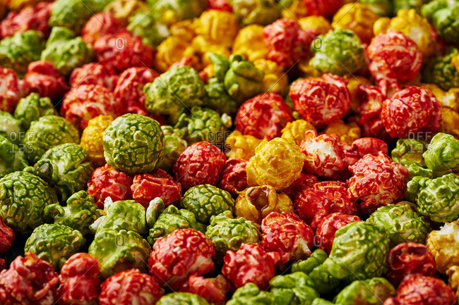 Close up of multicolored gourmet popcorn
