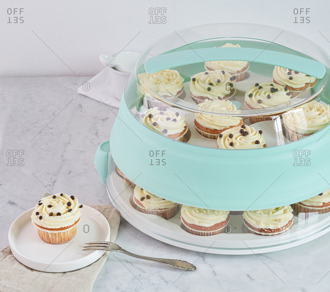 Cupcakes covered on a stand